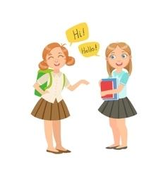 Schoolgirls chatting in school break wearing vector