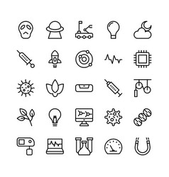 Science and technology line icons 7 vector