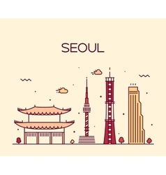 Seoul city skyline trendy line art style vector