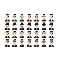 Set of mafia emoticon isolated on white background vector image vector image