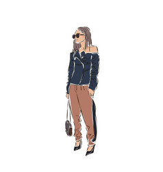 Sexy fashion girl drawing in sketch style vector