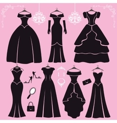 Silhouette of black party dressesaccessories vector image vector image