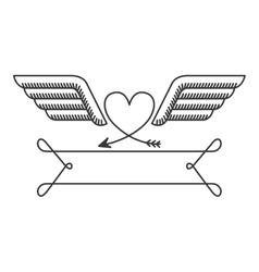 silhouette with heraldic heart simbol vector image