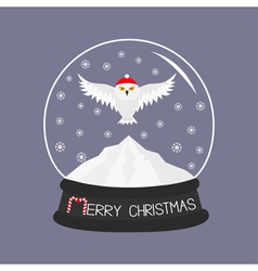 Snowy white owl red santa hat flying bird big vector