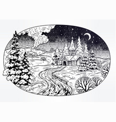 Snowy winter landscape the village chapel and vector