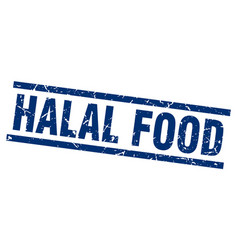 Square grunge blue halal food stamp vector