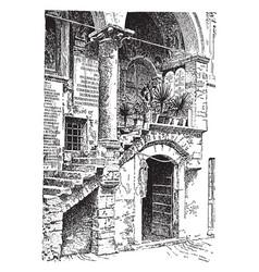 Stairs sidewalks vintage engraving vector