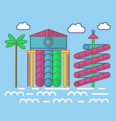 swimming pool with waterslides for children vector image
