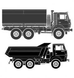 trucks silhouettes set vector image vector image