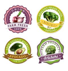 vegetables label set vector image vector image