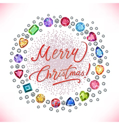 Xmas colored decorated gems round shape frame vector image