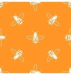 White bees orange background seamless vector image