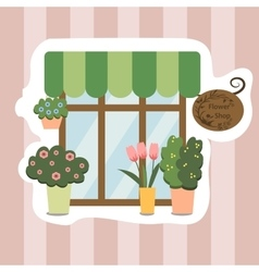 Flower shop facade show-window vector