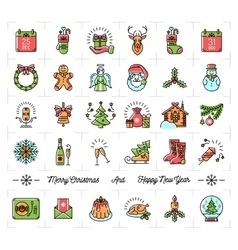 Christmas icons set new year symbols winter vector
