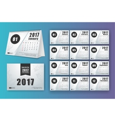12 month desk calendar template for print design vector image