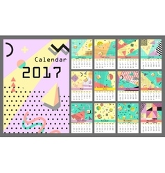 Calendar 2017 all 12 month retro vintage 80s or vector
