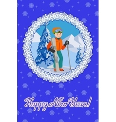 Congratulation card new year with man on the vector