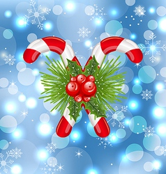 Christmas sweet canes with holly berry vector image