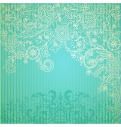 Vintage blue background with doodle flowers vector image