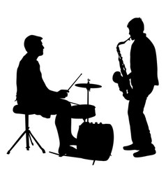 silhouette musician drummer and saxophonist on vector image