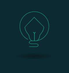 Bulb house icon vector