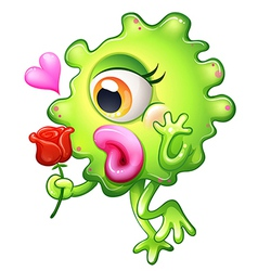 A female monster holding a rose vector