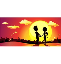 Lovers silhouette in sunset - vector