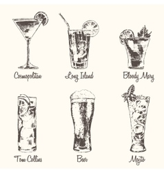 Set cocktail cosmopolitan beer mojito drawn vector