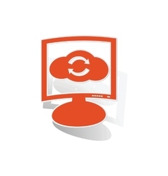 Cloud refresh monitor sticker orange vector