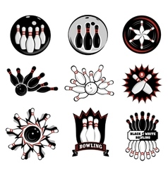 Bowling team or club emblems vector