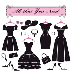 Silhouette of black party dressesfashion flat set vector