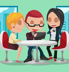 Business group cartoon character meeting vector