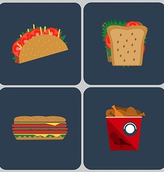 Snacks colorful icon set vector