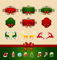 Merry christmas creative label set vector
