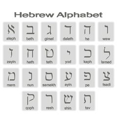 Set of monochrome icons with hebrew alphabet vector