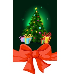 Colorful fir xmas tree and gift - vector