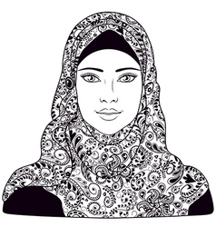 Arab girl outline vector