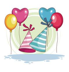 Birthday hats and balloons vector