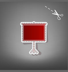 Blank projection screen red icon with for vector