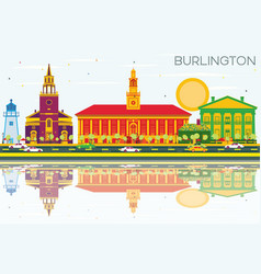 burlington skyline with color buildings blue sky vector image vector image