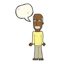 Cartoon dad shrugging shoulders with speech bubble vector