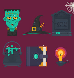 collection of halloween icon set vector image