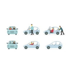Couple of people in the car set of situations a vector