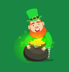 Cute cartoon dwarf leprechaun with pot of gold vector