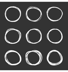 Dark set of hand drawn scribble circles vector