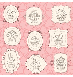 frames cupcakes vector image