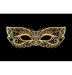 Golden carnival mask on black background vector