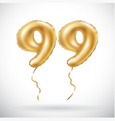 golden number 99 ninety nine metallic balloon vector image