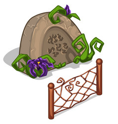 Gravestone with flowers and fence in cartoon style vector