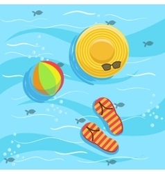 Hat Flip-Flops And Ball With Blue Sea Water On vector image
